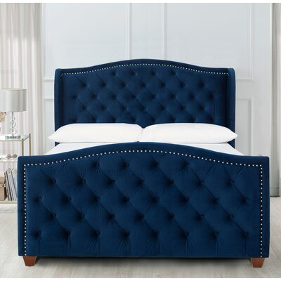 Kattan Queen Upholstered Panel Bed Color: Navy Blue