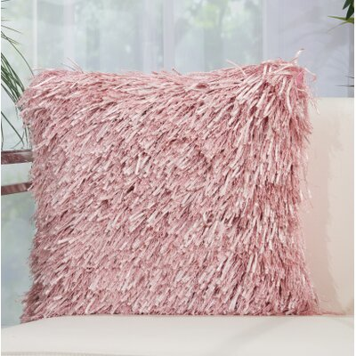 Delahunt Shag Throw Pillow Color: Rose