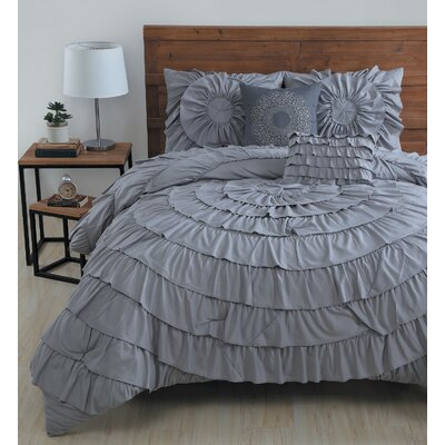 Edgware 5 Piece Comforter Set Size: King, Color: Grey