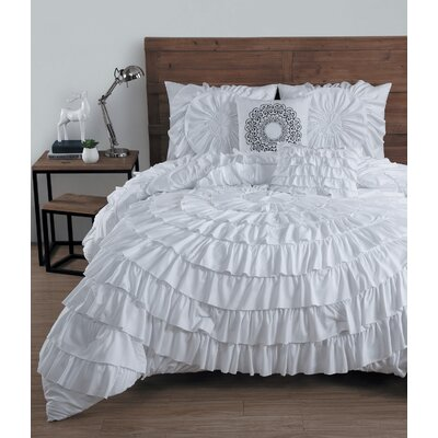 Edgware 5 Piece Comforter Set Size: King, Color: White