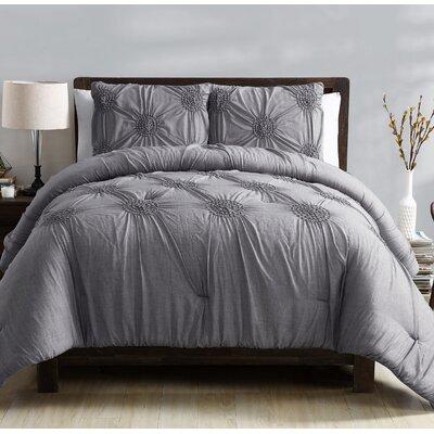 Miller Comforter Set Color: Gray, Size: King