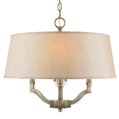 Edmondo 3-Light Semi Flush Mount Shade Color: Parchment, Finish: Aged Brass