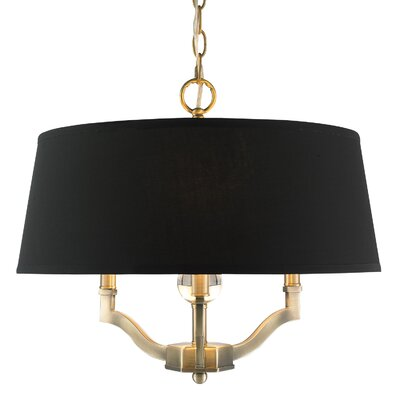 Edmondo 3-Light Semi Flush Mount Shade Color: Groom, Finish: Aged Brass