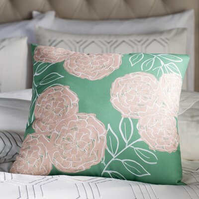Birness Flower Throw Pillow Size: 26 H x 26 W, Color: Green / Taupe