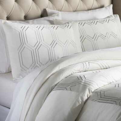 Brettany Duvet Cover Set Color: Ivory, Size: Twin
