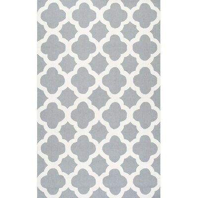 Calloway Trellis Hand-Hooked Light Blue/Ivory Area Rug Rug Size: Rectangle 86 x 116