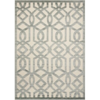 Hartz Ivory/Aqua Area Rug Rug Size: Rectangle 53 x 73