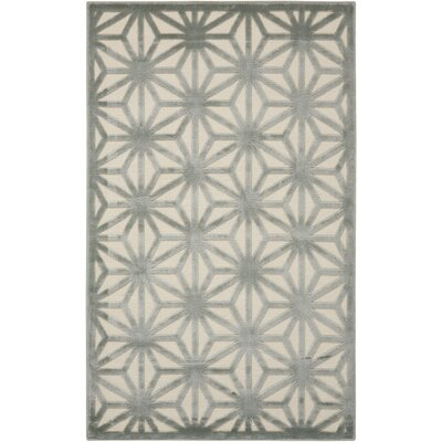 Stanhope Ivory/Aqua Area Rug Rug Size: Rectangle 36 x 56