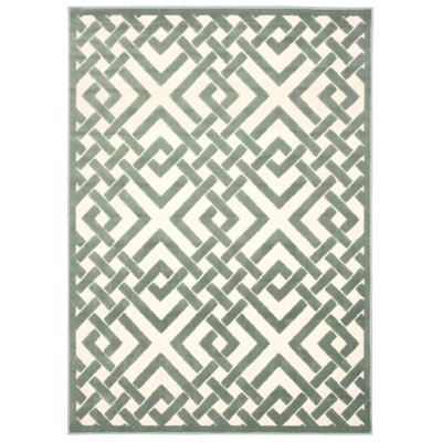 Hartz Ivory/Aqua Area Rug Rug Size: Rectangle 36 x 56