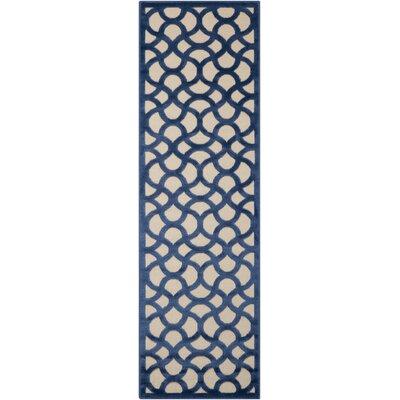 Hartz Ivory/Blue Area Rug Rug Size: Runner 22 x 7