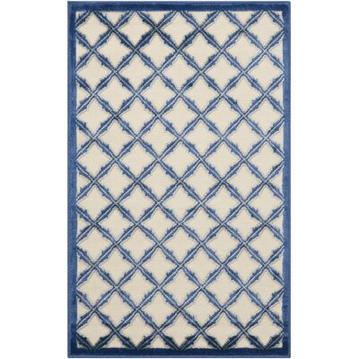 Hartz Ivory/Blue Area Rug Rug Size: 26 x 4