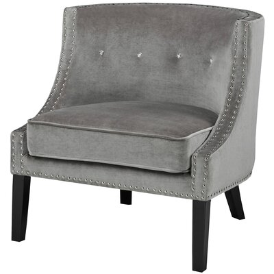 Brenna Solid Mid Century Nail Head Arm Chair Upholstery Color: Grey - Velvet