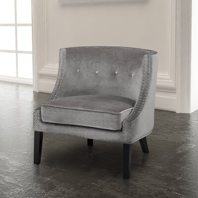 Rowsey Solid Armchair Upholstery Color: Grey - Velvet