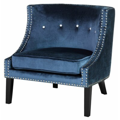Brenna Solid Mid Century Nail Head Arm Chair Upholstery Color: Blue - Velvet