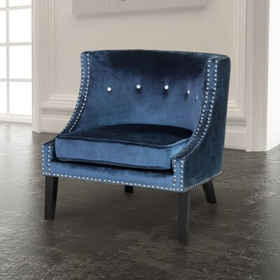 Rowsey Solid Armchair Upholstery Color: Blue - Velvet