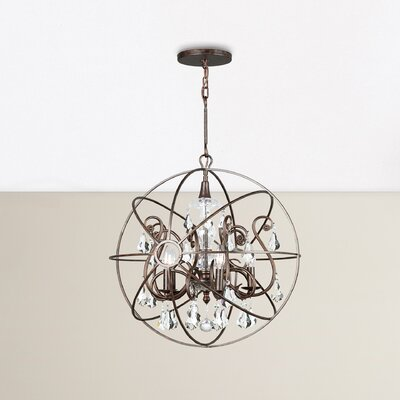 Hester 5-Light Crystal Chandelier Finish: English Bronze, Crystal Color: Golden Shade Hand Cut