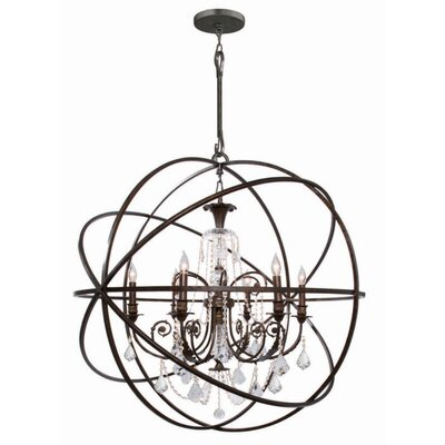 Rodrigues 6-Light Wrought Iron Crystal Chandelier Finish: English Bronze, Crystal Color: Clear Hand Cut