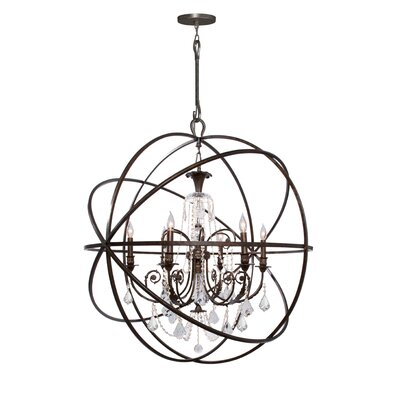 Rodrigues 6-Light Wrought Iron Crystal Chandelier Finish: English Bronze, Crystal Color: Swarovski Elements