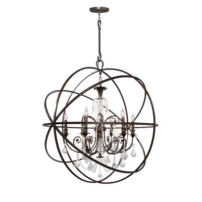 Rodrigues 6-Light Wrought Iron Crystal Chandelier Finish: English Bronze, Crystal Color: Swarovski Spectra