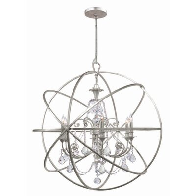 Rodrigues 6-Light Wrought Iron Crystal Chandelier Crystal Color: Clear Hand Cut, Finish: Olde Silver