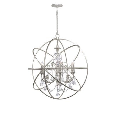 Rodrigues 6-Light Wrought Iron Crystal Chandelier Crystal Color: Swarovski Elements, Finish: Olde Silver