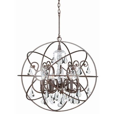 Rodrigues 6-Light Crystal Chandelier Finish: English Bronze, Crystal Color: Clear Hand Cut