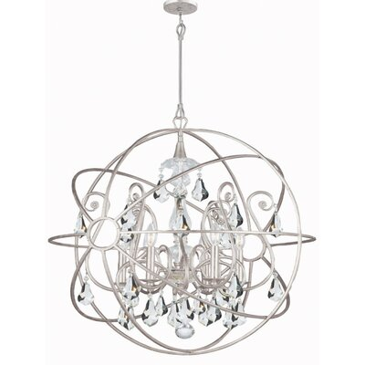 Rodrigues 6-Light Crystal Chandelier Crystal Color: Clear Hand Cut, Finish: Olde Silver