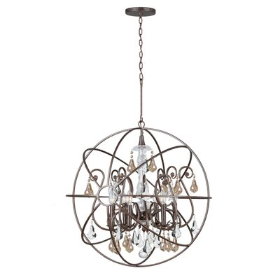 Rodrigues 6-Light Crystal Chandelier Finish: English Bronze, Crystal Color: Golden Shade Hand Cut