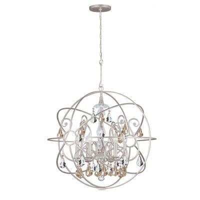 Rodrigues 6-Light Crystal Chandelier Finish: Olde Silver, Crystal Color: Golden Shade Hand Cut