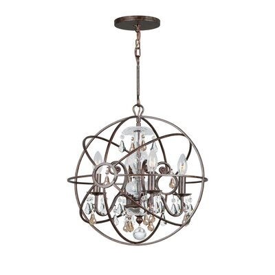 Rodrigues 4-Light Crystal Chandelier Finish: English Bronze, Crystal Color: Golden Shade Hand Cut