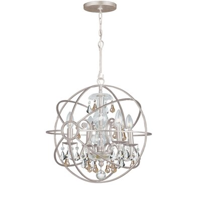 Rodrigues 4-Light Crystal Chandelier Crystal Color: Golden Shade Hand Cut, Finish: Olde Silver