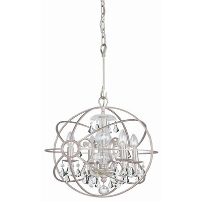 Rodrigues 4-Light Crystal Chandelier Crystal Color: Clear Hand Cut, Finish: Olde Silver