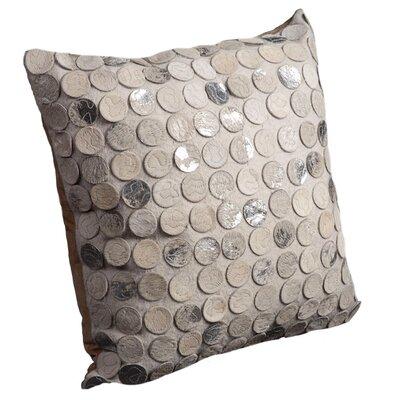 Aphra Leather Throw Pillow Color: Silver/White