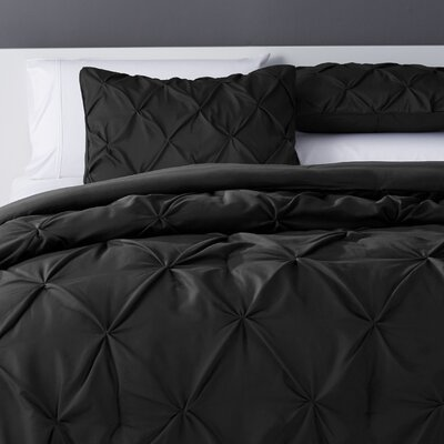 Bostic Comforter Set Size: King, Color: Black