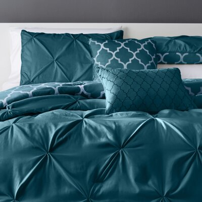 Douglas 5 Piece Reversible Comforter Set Color: Teal, Size: Queen