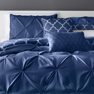 Amaratha 5 Piece Reversible Comforter Set Color: Navy, Size: Queen