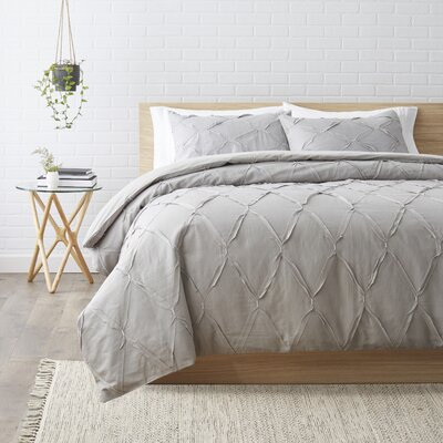 Teresa Duvet Cover Set Size: King, Color: Gray