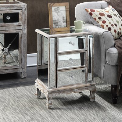 Rothman End Table with Storage Finish: Weathered White