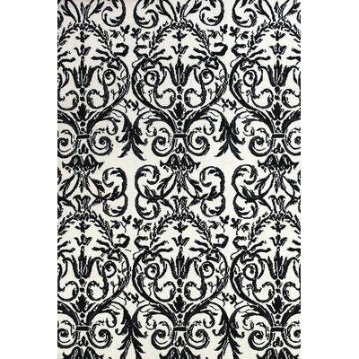 Josephine Ebony/White Area Rug Rug Size: 36 x 56