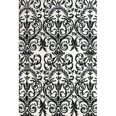 Josephine Ebony/White Area Rug Rug Size: 96 x 136