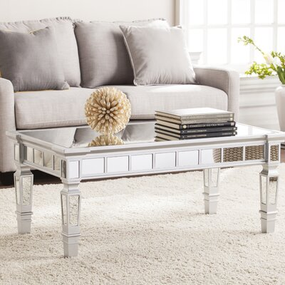 Jerlene Glam Mirrored Rectangular Coffee Table