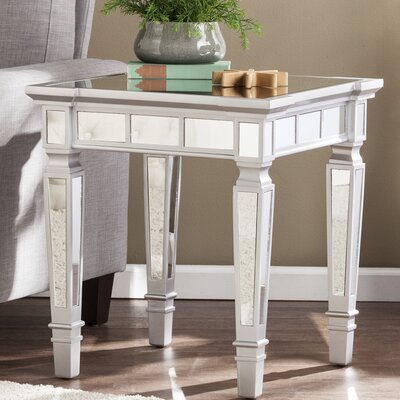 Jerlene Glam Mirrored Square End Table