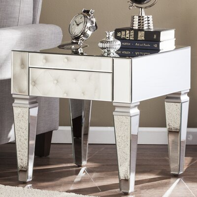 Karina Contemporary Mirrored Square End Table