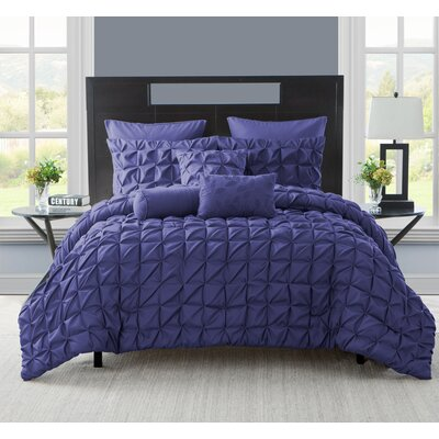 Gilbert Comforter Set Color: Navy, Size: King