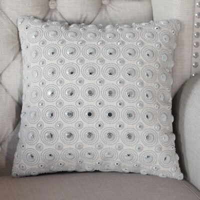 Beads Polyester Throw Pillow Color: White