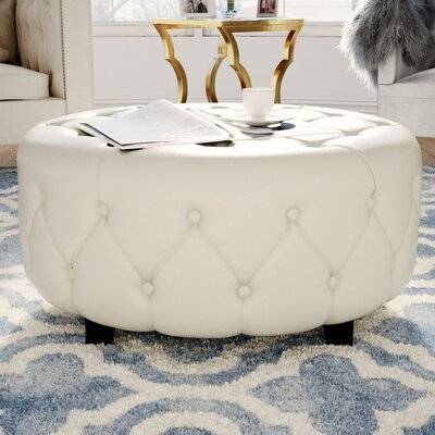 Bowie Leather Tufted Round Ottoman Upholstery: White