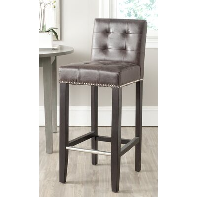 Hoskins 30 inch Bar Stool Upholstery: Antique Brown Faux Leather