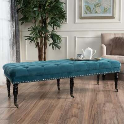 Hoxton Velvet Upholstered Bedroom Bench with Caster Upholstery: Dark Teal