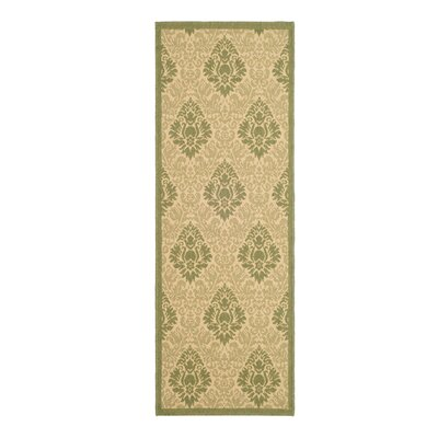 Jarrow Natural/Olive Outdoor Rug Rug Size: Runner 24 x 67