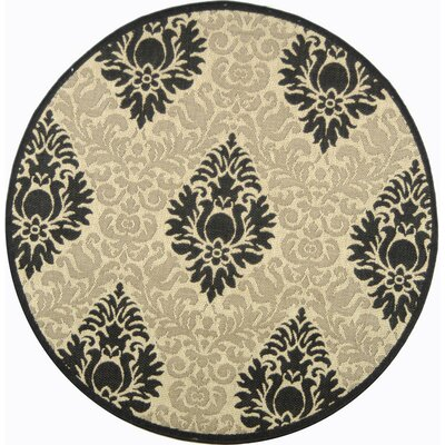 Jarrow Sand/Black Outdoor Area Rug Rug Size: Round 67